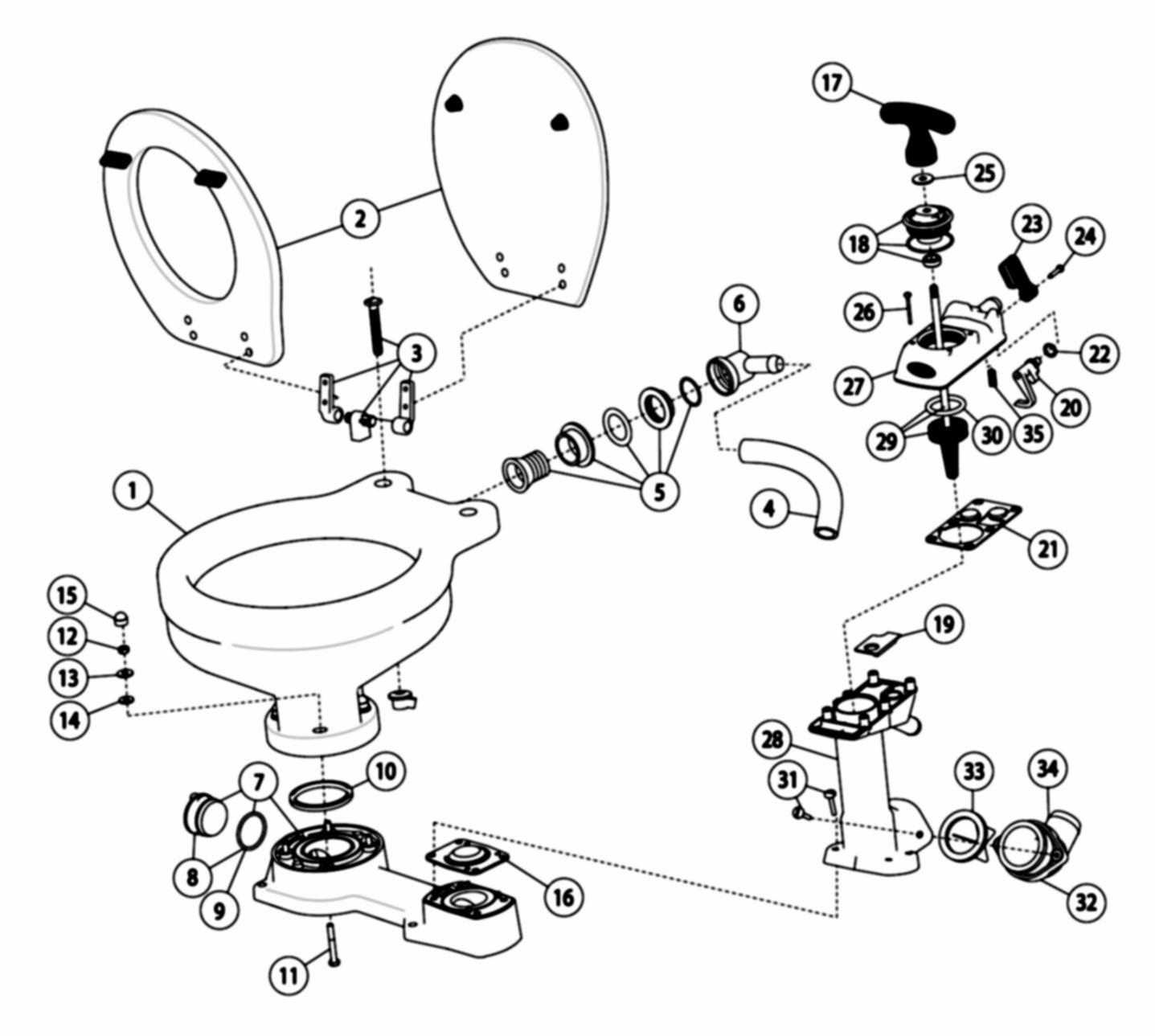 Jabsco 29120 3000 Manual Twist N Lock Toilet Regular